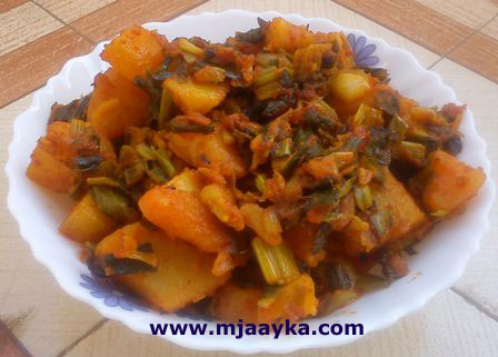 Spring Onion Potato Fry Recipe